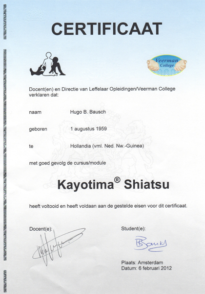 Massage Affairs diploma Kayotima Shiatsu