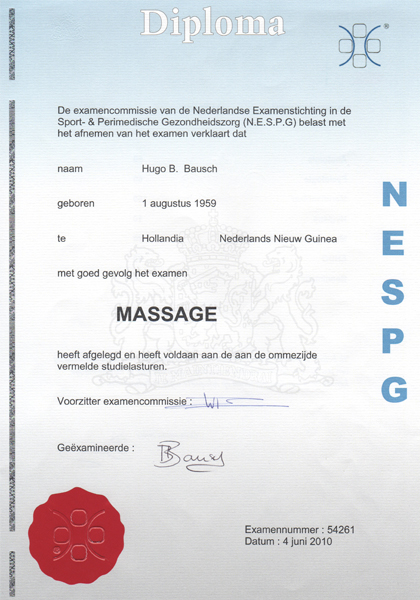 Massage Affairs diploma Ontspanningsmassage