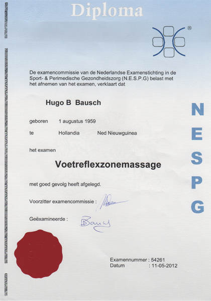 Massage Affairs diploma Voetreflexzonemassage